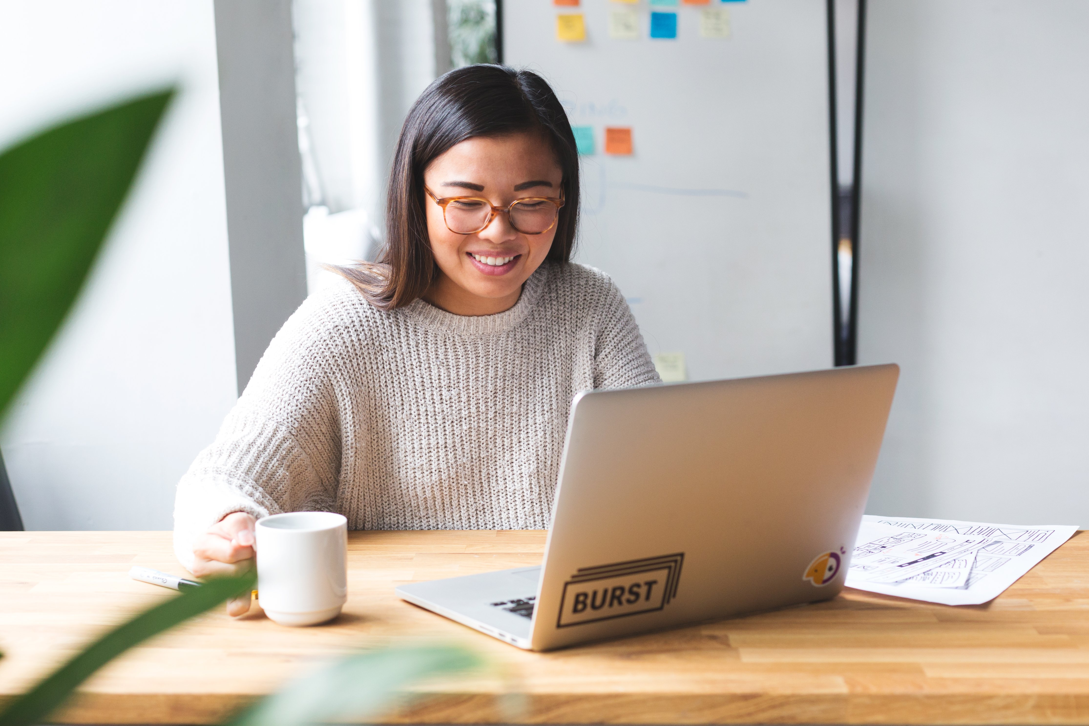 web-designer-starting-her-day